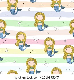Seamless pattern with Hand drawn vector little mermaid.