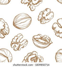 Seamless pattern. Hand drawn vector outline illustration of a walnut. Walnut kernels and shells. Handwritten graphic technique