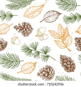 Seamless pattern. Hand drawn vector illustrations - Forest Autumn collection. Spruce branches, acorns, pine cones, fall leaves. Design elements for invitations, greeting cards, quotes, prints, fabric