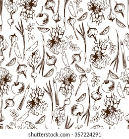 Seamless pattern with hand drawn vegetables; onion, garlic, sweet pea, leek, radish, beet root. Brown on white background, line art. Vector illustration