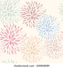 Seamless Pattern with Hand Drawn Watercolor Flowers. Vector Illustration.
