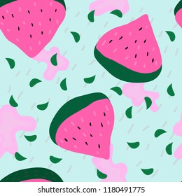 Seamless pattern with hand drawn watermelon, leaves and spots.