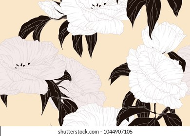 Seamless pattern, hand drawn white Eustoma / lisianthus / prairie gentian flowers with black leaves on light brown background