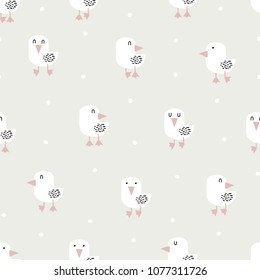 Seamless pattern with hand drawn white bird in scandinavian style. Creative vector childish background for fabric, textile, nursery wallpaper. Vector Illustration.