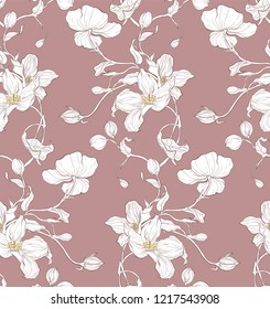 Seamless pattern, hand drawn white apple blossom.