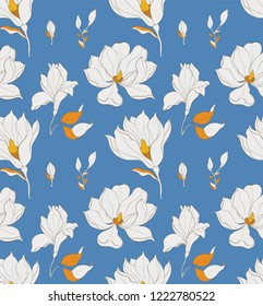 Seamless pattern, hand drawn white magnolia blossom.