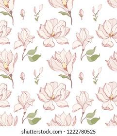 Seamless pattern, hand drawn white magnolia blossom.