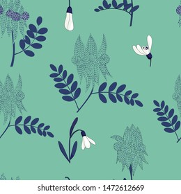 seamless pattern of hand drawn white snow drop and swainsona in dash line drawing and blue leaf,western australia wild flowers on green background