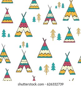 Seamless pattern with hand drawn wigwams and trees on white. Creative vector background in ethnic style.