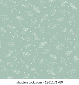 Seamless pattern with hand drawn winter botanicals. Great for wrapping paper, invitations, greeting cards or textiles.