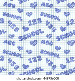 Seamless pattern with hand drawn words, numbers and hearts on school squared paper. Vector illustration