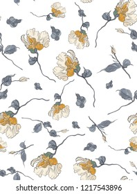 Seamless pattern, hand drawn yellow pale Eustoma.