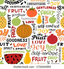 Seamless pattern with hand lettering words Fruit, Spirit, Love, Joy, Peace. Biblical background. Christian poster. Scripture print. Modern calligraphy. Bible Verse