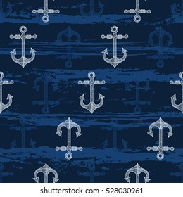 Seamless pattern with  hand-drawn anchors. Sea  vector background.