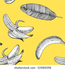 Seamless pattern with hand-drawn Banana. Vector.