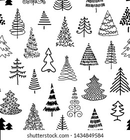 Seamless pattern with hand-drawn Christmas trees. Black and white. Doodle. Sketch.