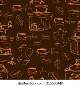 Seamless pattern with handdrawn coffee cups, beans, grinder, coffee pot, calligraphic text COFFEE. Background design for cafe or restaurant menu.