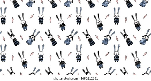 Seamless pattern of hand-drawn cute rabbits boys and girls in clothes and carrots on a white background. Cute kawaii endless texture, for nursery, clothes, wallpapers, wrapping paper. Vector.