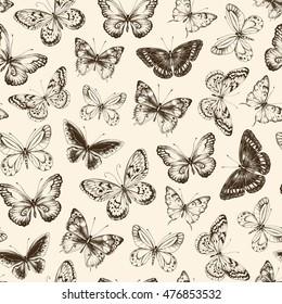 Seamless pattern with hand-drawn dark-brown silhouette butterflies on beige background, vector illustration.