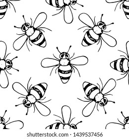 Seamless pattern Handdrawn doodle bee icon. Hand drawn black bee sketch. Sign symbol. Decoration element. White background. Isolated. Flat design. Vector illustration.