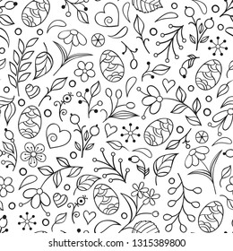 Seamless pattern with handdrawn easter eggs, flowers, leaves and other elements on white background.