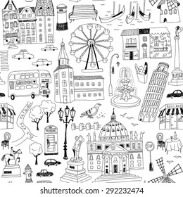 seamless pattern with hand-drawn European architecture