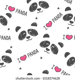 Seamless pattern hand-Drawn faces of pandas  on grey background . Background for Children's clothing. I Love Panda pattern.