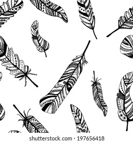 seamless pattern with hand-drawn feathers