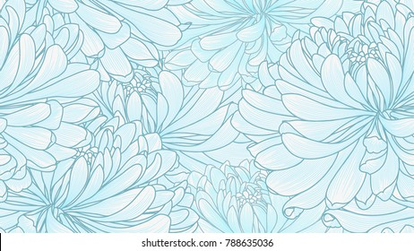 Seamless pattern with hand-drawn flowers of chrysanthemums.