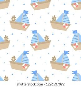 Seamless pattern of hand-drawn ship with lifebuoy and sail. Vector image on the marine theme for a boy sailor. Illustration for holiday, baby shower, birthday, textile, wrapper, card, print, banner