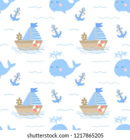 Seamless pattern of hand-drawn ship, whale and anchor. Vector image on the marine theme for a boy. Illustration for holiday, baby shower, birthday, textile, wrapper, greeting card, print, banner