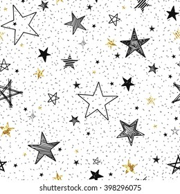Seamless pattern with hand-drawn stars and golden foil stars, abstraction vector illustration on white background.