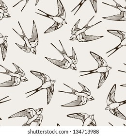 Seamless pattern with hand-drawn swallows