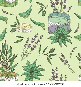 Seamless pattern with handmade soap, lavender, aloe and tea tree. Organic cosmetic natural soap. Vector hand drawn illustration.