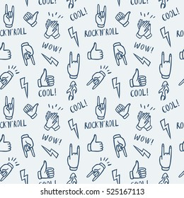 Seamless pattern with hands showing cool rock and roll signs. Hand drawn background for your design.