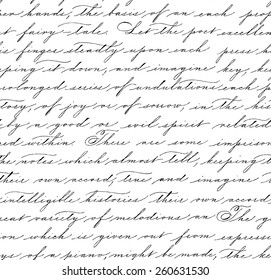 Seamless pattern with handwriting text. Calligraphy. Text background. Spencerian style.