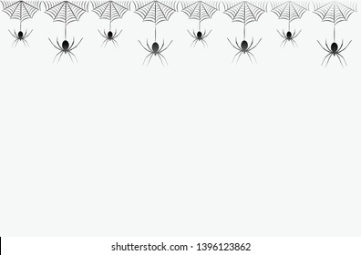 Seamless pattern with hanging spiders. Creepy background for Halloween