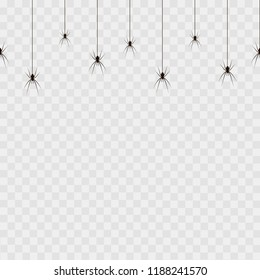 Seamless pattern with hanging spiders on transparent background. Vector