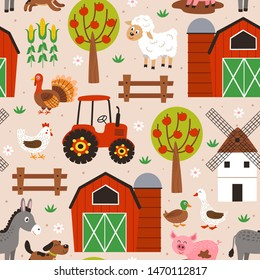 seamless pattern with happy animal farm  - vector illustration, eps