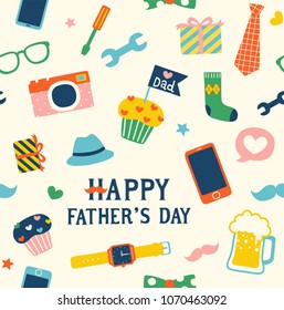 Seamless pattern of happy father's day with cute cartoon icons, typography and design elements collection. Flat design. Colored vector illustration.