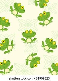 Seamless Pattern Happy Frog