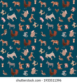Seamless pattern of happy funny pets or farm pets in flat style. Vector illustration isolated on a green background.