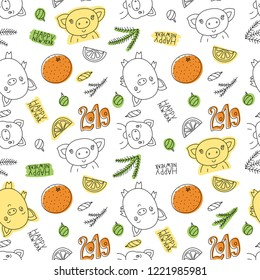 Seamless pattern. Happy New Year 2019. Vector pig, mandarin, orange and Christmas tree branch. Winter texture