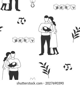 Seamless pattern: happy parents with a baby. Children's accessories and toys. Vector illustration.