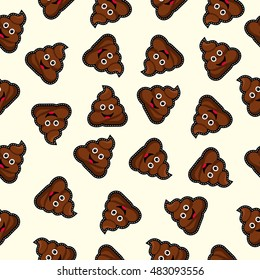 Seamless pattern with happy poop icon, funny illustration background. EPS10 vector.