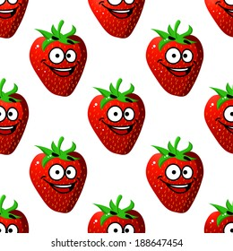 Seamless pattern of a happy ripe red strawberry with a big smile in a repeat motif and square format