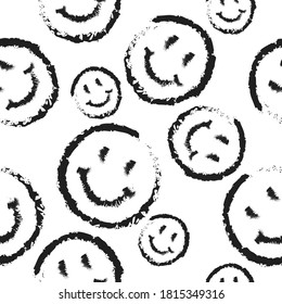 Seamless pattern of happy round icon. Smiling Emoticon texture. Isolated smile icon all over print background.