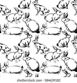 Seamless pattern with hares and rabbits. Drawing by hand in intazhnom style. Background with animals.