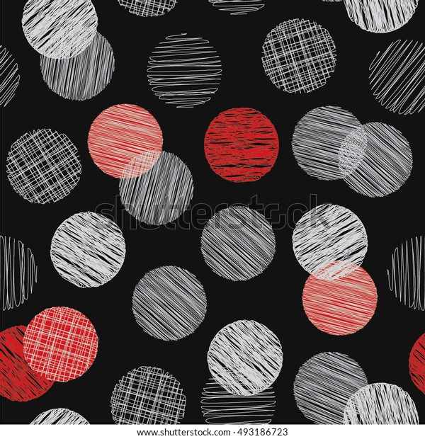 Seamless pattern with hatched circles