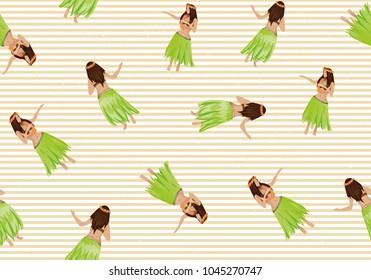 Seamless pattern with Hawaiian dancers